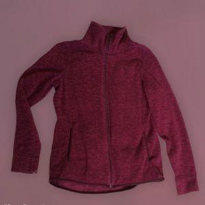 Warm pink zip up fuzzy sweater